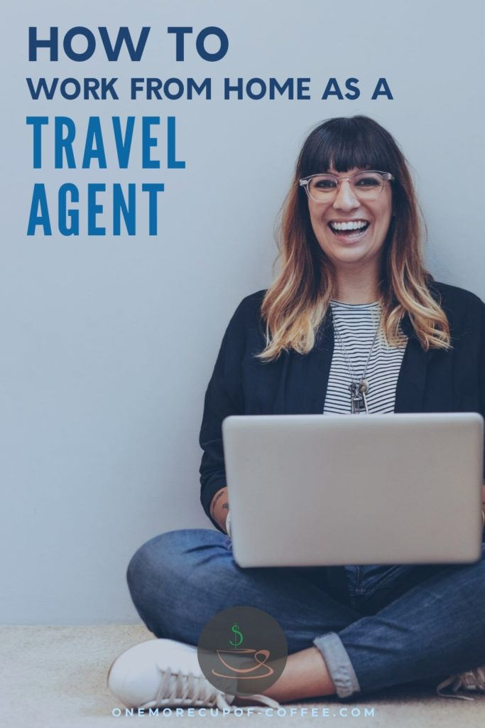 travel agent working on her laptop, with text overlay