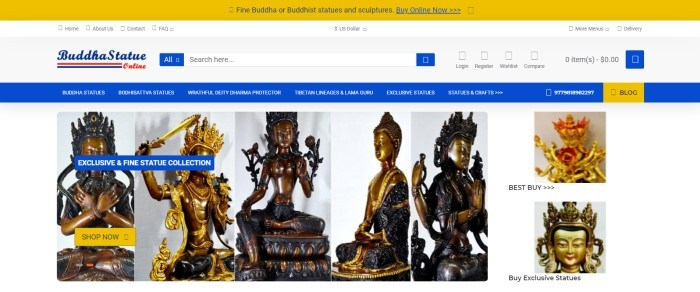 This screenshot of the home page for Buddha Statue Online has a gold header, a white search bar, a blue navigation section, and a row of photos of different statues.