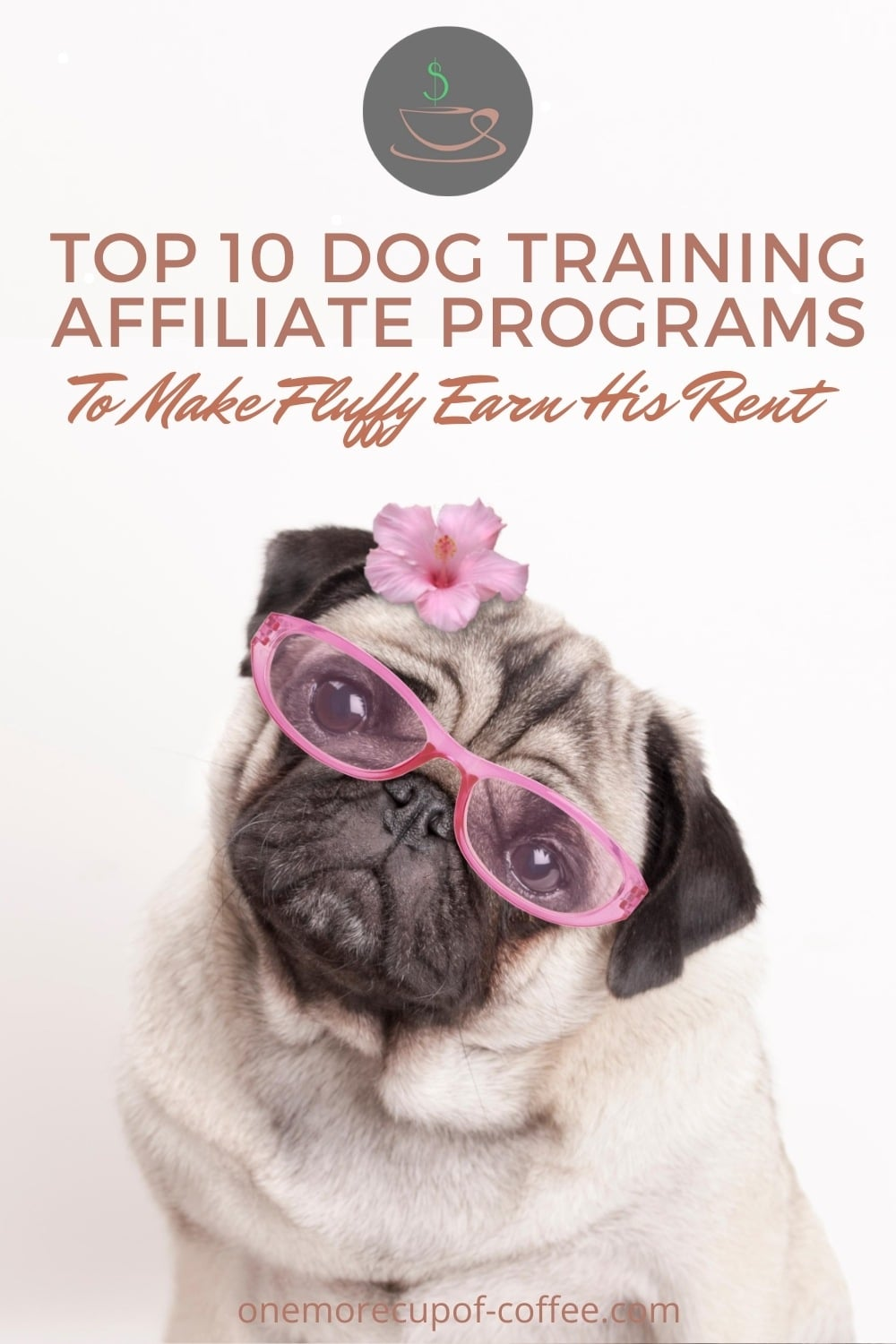 """pug in pink-rimmed eyeglasses and pink flower with text at the top """"Top 10 Dog Training Affiliate Programs To Make Fluffy Earn His Rent"""""""