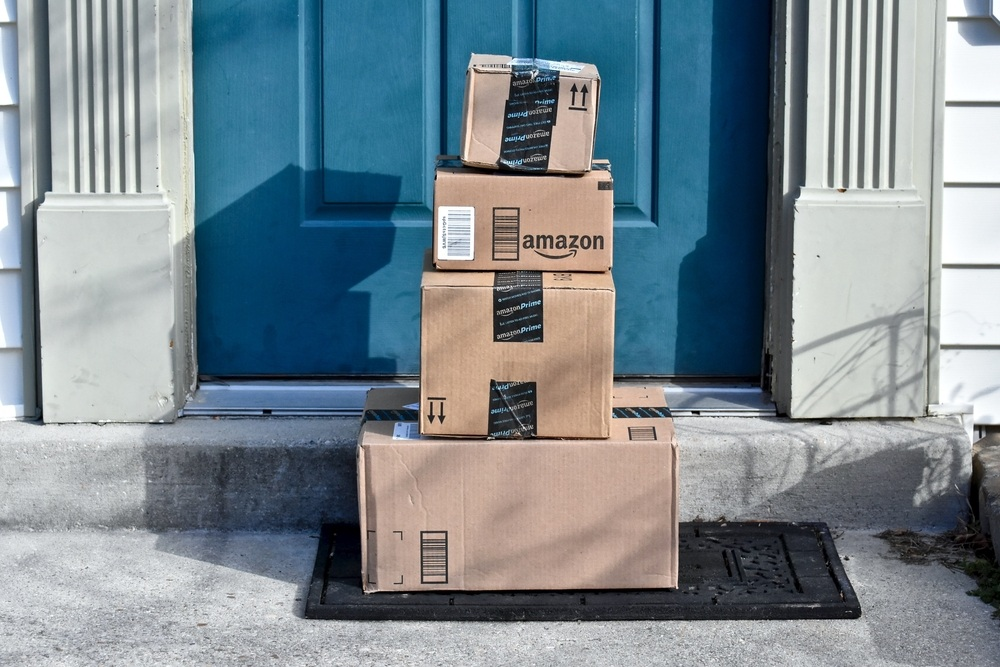 amazon prime packages sitting in front of doorstep