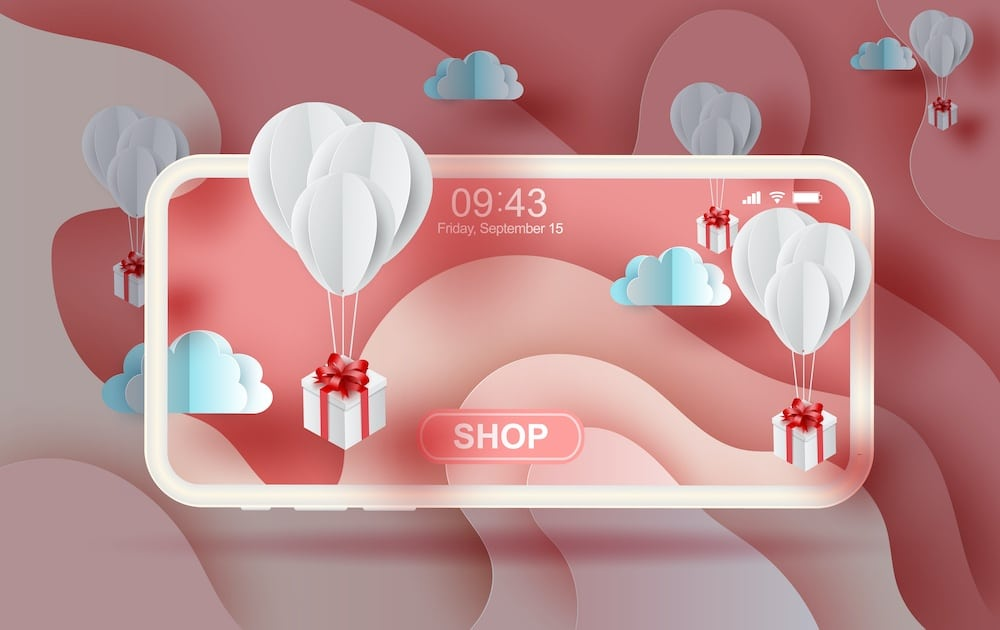 ecommerce concept image with red and white packages on smartphone