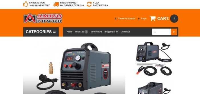 This screenshot of the home page for Amico Power has a white announcement bar, an orange and black header and navigation bar, and a white main section with photos of three types of welding equipment in gray and black.