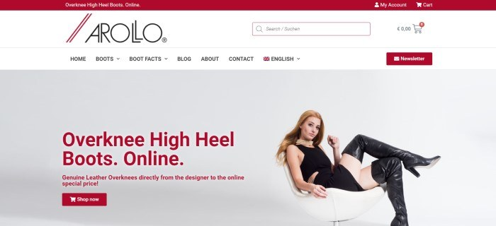 This screenshot of the home page for Arollo has a red header, a white search bar and navigation bar, a photo on the right side of the page of a red-haired woman in a black crop top, black miniskirt, pearl necklace, and black thigh boots sitting in a white chair, and red text with a red call to action button on the left side of the page.