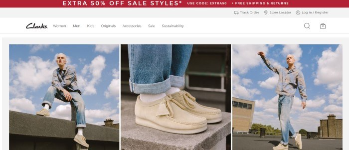 This screenshot of the home page for Clarks has a red sales bar, a white navigation bar, and a row of three photos of a young blonde man in a blue and gray shirt, jeans, white socks, and beige shoes, with a closeup of the shoes as the center photo.