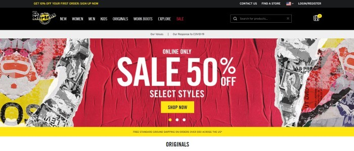 This screenshot of the home page for Doc Martens has a black header and navigation bar above a large graphic sales announcement in white, red, yellow, and black, with white text and a yellow call to action button.