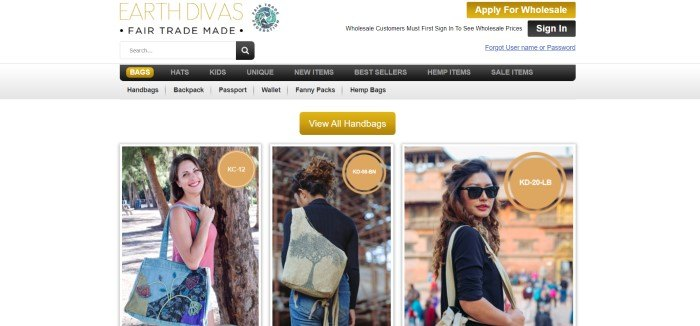 This screenshot of the home page for Earth Divas has a white background and search bar, a gray and charcoal-colored navigation bar, three gold-colored call to action buttons near the top of the page, and a row of three photos of smiling women carrying handmade bags crafted and sold through Earth Divas.