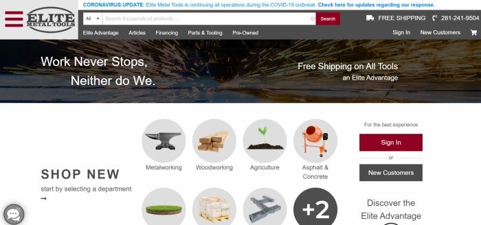 This screenshot of the home page for Elite Metal Tools has a gray navigation bar and search bar with a lighter gray, red, and black logo, above a dark-filtered photo of sparks flying across metal behind white wording and a white main section below it with two rows of circular photos of items like anvils representing a variety of tool categories this store stocks.