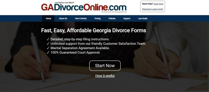 This screenshot of the home page for GA Divorce Online has a white header, a dark blue navigation bar, and a dark filtered photo of the hands of a man and a woman, each holding a pen and signing separate papers, behind white text and a black and white call to action button.