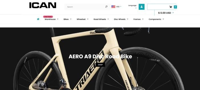 This screenshot of the home page for ICAN Cycling has a white header and navigation bar with black text above a photo of a gold and black bike behind white text.