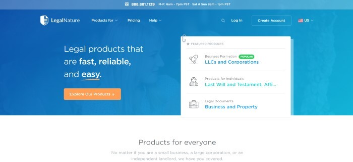 This screenshot of the home page for Legal Nature has a blue header and background with white text and an orange call to action button on the left side of the pate and a white product list on the right side of the page with text in black, blue, and green.