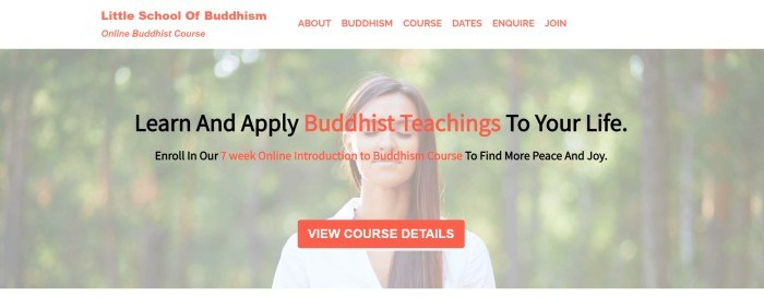 This screenshot of the home page for Little School of Buddhism has a white navigation bar with orange text above a light filtered photo of a woman meditating, behind black and orange text and an orange call to action button.