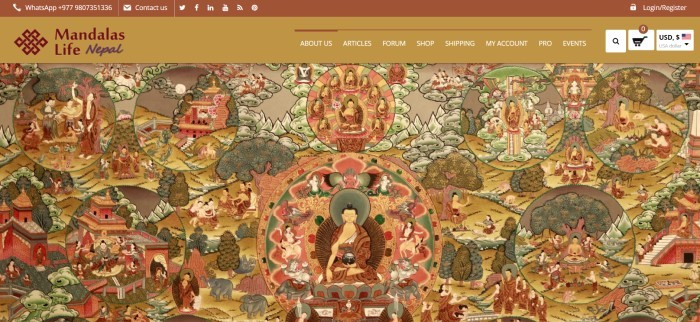 This screenshot of the home page for Mandalas Life has a gold and brown navigation bar above a tapestry section showing several scenes of Buddha in brown, green, gold, and red.