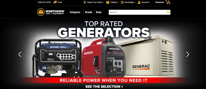 This screenshot of the home page for Northern Tool has a black background with white text, orange icons, and a photo of three top-rated generators in blue, red, and beige, along with a red announcement bar at the bottom of the page.