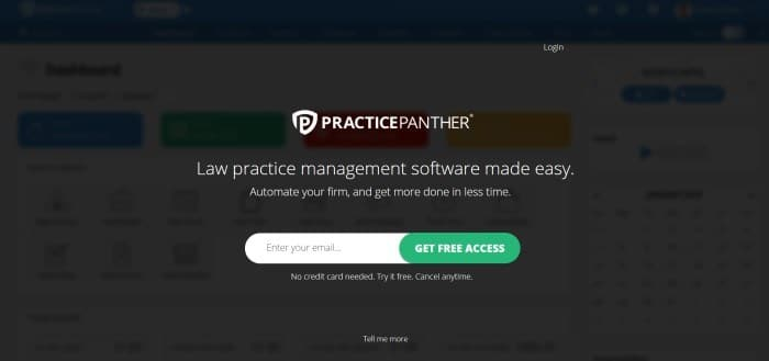 This screenshot of the home page for Practice panther has a dark filter with white text and a white and green search bar overlaying a blurry website.