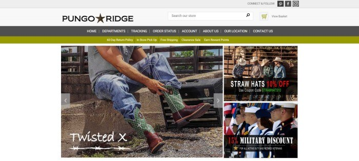 This screenshot of the home page for Pungo Ridge has a gray header, a dark gray and olive green set of navigation bars, and a white main section with a photo on the left side of the page of a man in jeans putting on green and red cowboy boots, with two smaller photos stacked on top of each other on the right side of the page showing four men in straw hats outside a horse corral and a row of people in military uniforms.