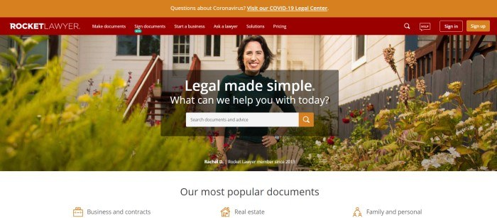 This screenshot of the home page for Rocket Lawyer has an orange announcement bar, a red navigation bar, a photo of a smiling dark-haired woman standing in a beautiful flower garden in front of a white house, and a dark filtered section in the center with white text and an orange and white search bar.