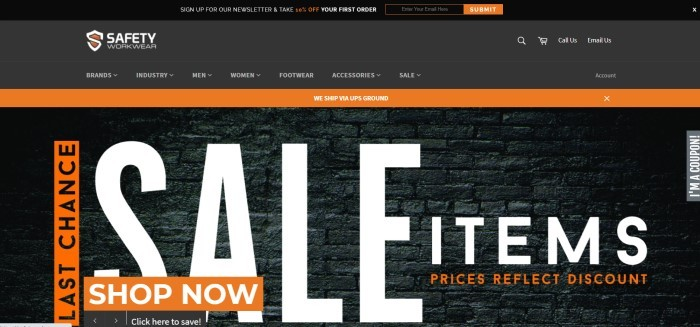 This screenshot of the home page for Safety Workwear has a black header and navigation bar, an orange announcement bar, and a photo of a black brick wall behind orange and white text announcing a sale, along with an orange call to action button.