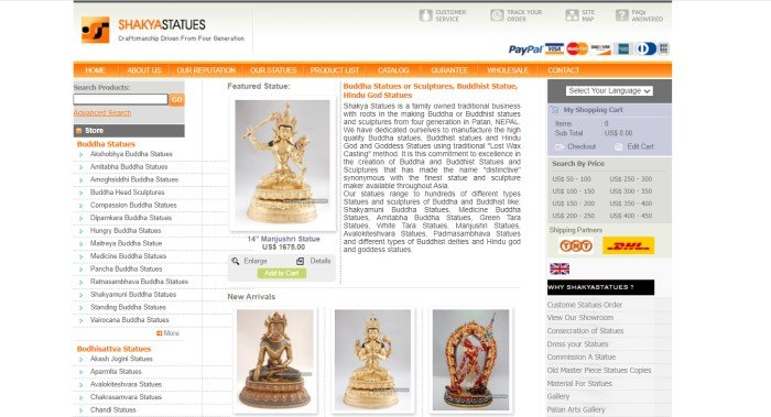 This screenshot of the home page for Shakya Statues has a white header, an orange navigation bar, a category list on the left side of the page, a central text section with a gold statue photo above a row of three other statues, and a currency section on the right side of the page.