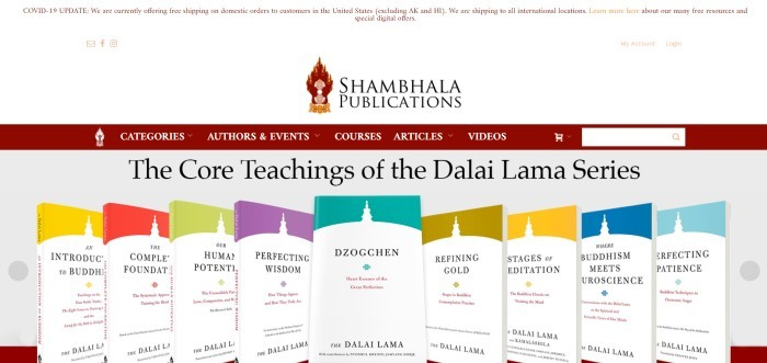 This screenshot of the home page for Shambhala Publications has a white header, a red navigation bar, and a row of books with white backgrounds and different colored tops.
