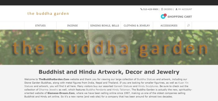 This screenshot of the home page of the Buddha Garden has a black bar, a white header and navigation bar, a light filtered photo of a Buddha statue behind orange text, and a black text section near the bottom of the page.
