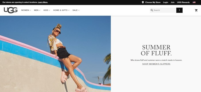This screenshot of the home page for Ugg has a black header, a white navigation bar, a photo on the left side of the page of a young woman in sunglasses, black shorts, a white and yellow shirt, and pink Ugg sandals sitting on a concrete wall, along with a white text section with black text on the right side of the page.