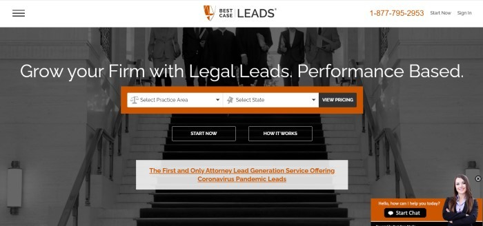 This screenshot of the home page for Best Case Leads has a white header above a dark filtered photo of several people in business clothing and judge robes coming down the stairs in what appears to be a courthouse, behind white text, an orange search section, two black and white call to action buttons, and a gray information section with orange text.