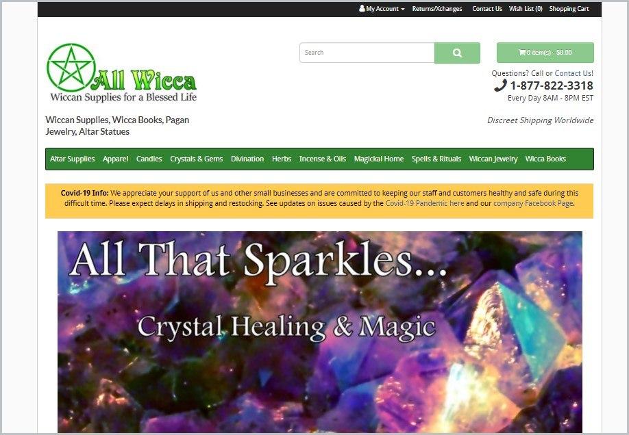 screenshot of All Wicca homepage