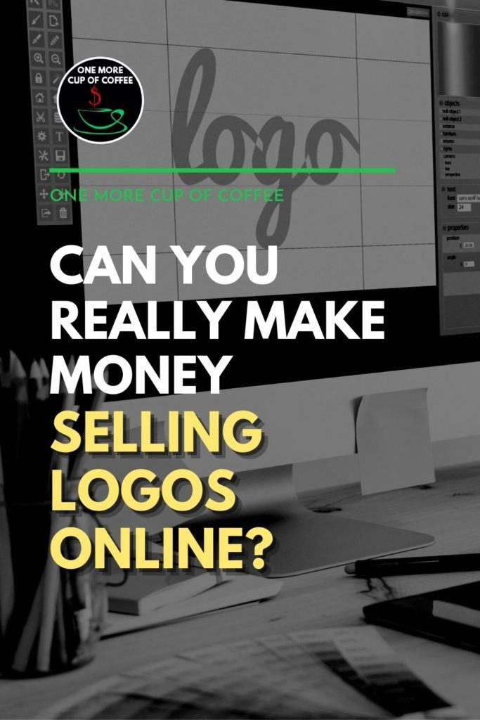 """black and white image of a computer monitor with adobe photoshop on it; with text overlay """"Can You Really Make Money Selling Logos Online?"""""""