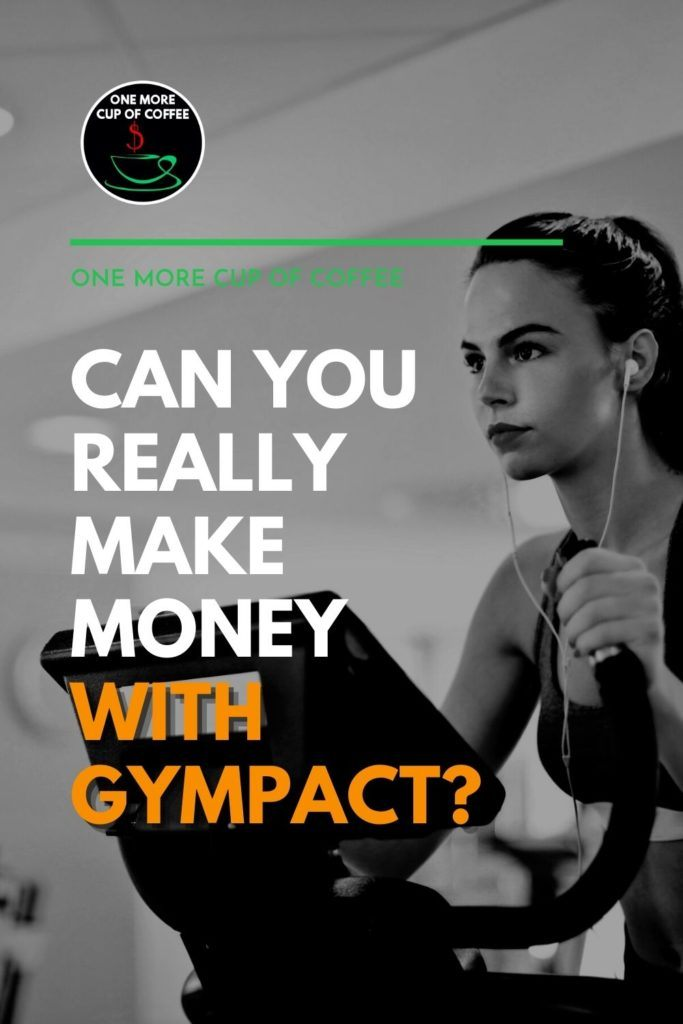 """black and white half-body image of a woman on a treadmill with her earphone on; with text overlay """"Can You Really Make Money with GymPact?"""""""