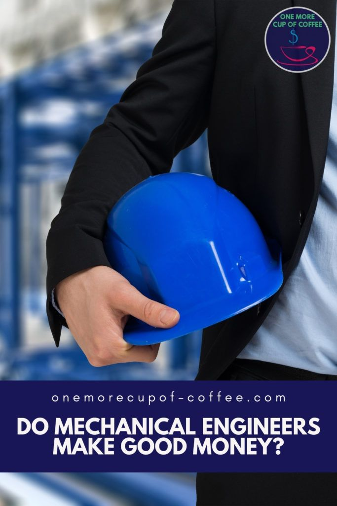 closeup image of a blue hard hat being held by one hand, held to the side of a man's body; with text overlay in blue banner