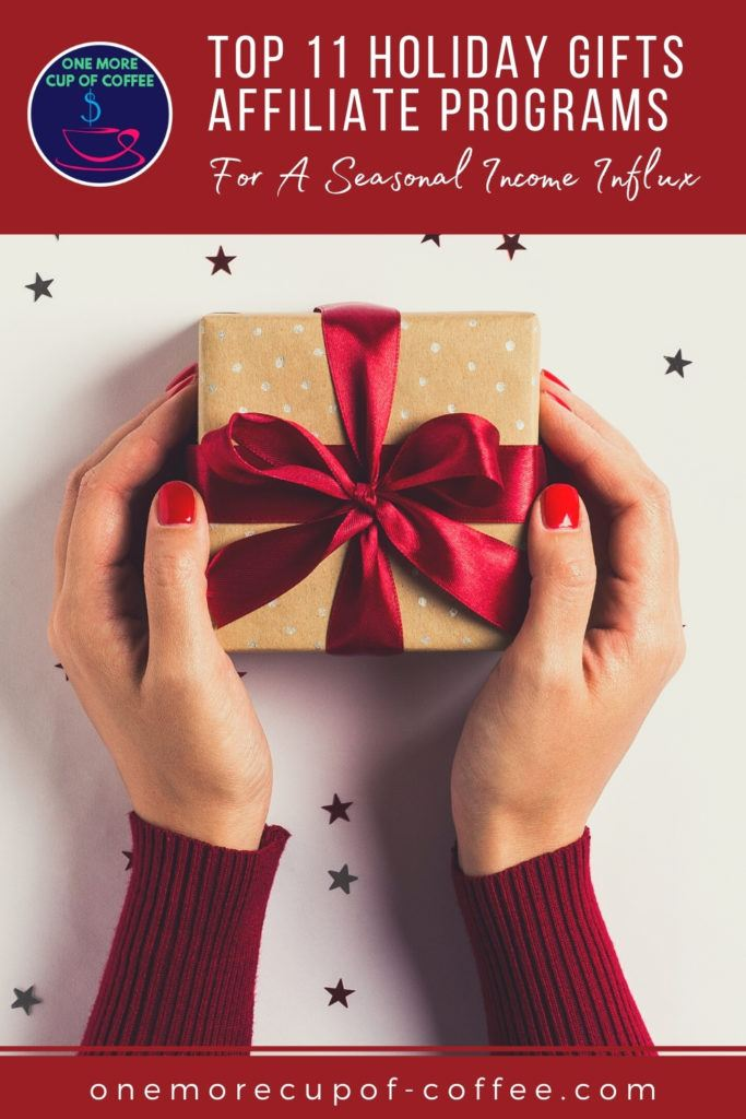 top view image of hands in long sleeves sweater holding a little box of gift wrapped in brown paper with red satin bow; with text overlay at the top in red banner