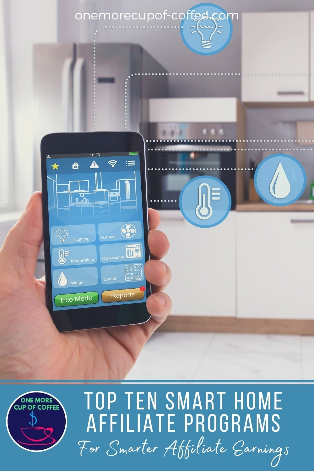 """smartphone controlling home temperature, lighting, water, and others; with text overlay at the bottom in blue banner """"Top Ten Smart Home Affiliate Programs For Smarter Affiliate Earnings"""""""