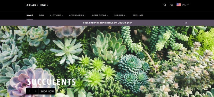 This screenshot of the home page for Arcane Trail has a black header and navigation bar above a large photo showing a wide variety of succulent plants.