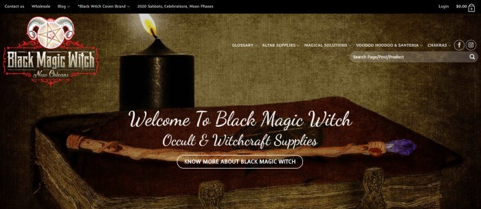 This screenshot for the home page of Black Magic Witch has a large photo of a dimly lit room with a book, a wand, and a lit black candle on a table behind white lettering.