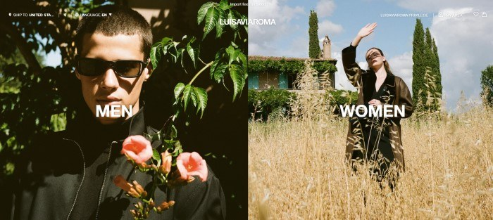 This screenshot of the home page for LuisaViaRoma has a transparent navigation bar with white text above a split main section with a photo of a man in sunglasses and a black jacket standing in front of a tree with white text on the left side of the page, and a photo of woman in a gold colored jacket who is standing in a field of yellow grass in front of a house with tall trees and ivy, blocking the sun from her face with one hand, with white text, on the right side of the page.