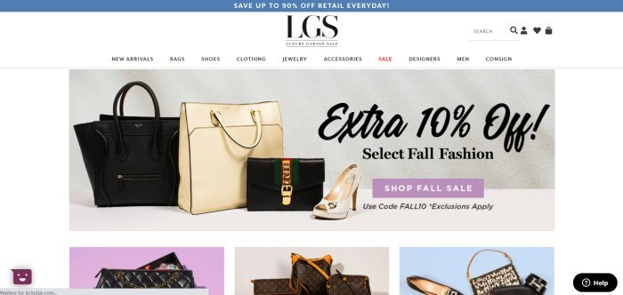 This screenshot of the home page for Luxury Garage Sale has a blue header above a white navigation bar with black text, above a photo with a gray background, several designer purses in black and white, a white shoe, black text, and a purple call to action button, as well as a row of product photos of purses and shoes in black and white with backgrounds in purple, white, and blue along the bottom of the page.