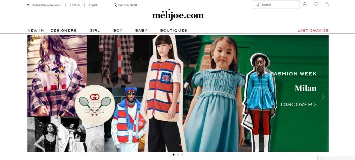 This screenshot of the home page for Melijoe has a white header and navigation bar with black text above a photo collage of several children wearing designer clothing in black and white paid, blue solids, and fabric with red, white, and blue stripes.