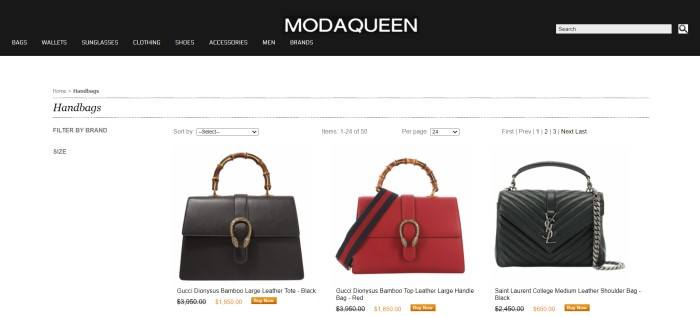 This screenshot of the home page for ModaQueen has a black navigation bar with white text above a white mains section with a search area and several product photos of designer handbags in black and red.