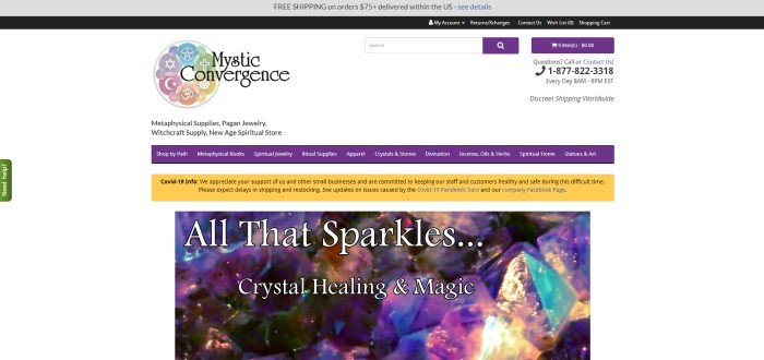 This screenshot of the home page for Mystic Convergence has a white background, purple navigation bar, yellow announcement bar, and a large photo of sparkling crystals behind white text.