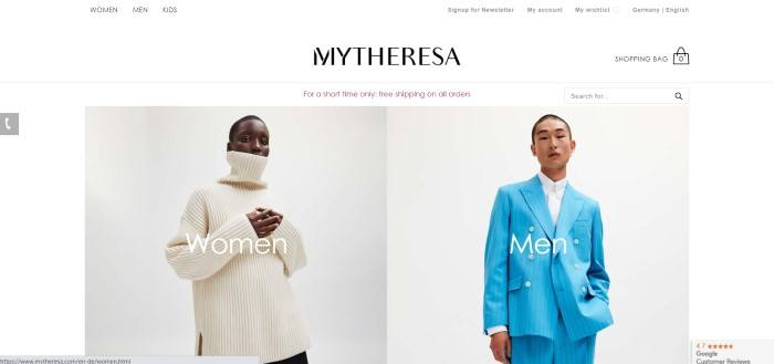 This screenshot of the home page for Mytheresa has a white header with black text above a main section with a photo of a dark-skinned woman in an ivory cowl-necked sweater on the left side of the page and a photo of an Asian man in a sky-blue pinstriped suit on the right side of the page.