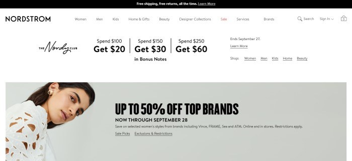 This screenshot of the home page for Nordstrom has a black header, a white navigation bar with black text, and a gray main section with a photo of a dark-haired woman in a white shirt on the left side of the page and black text on the right side of the page.