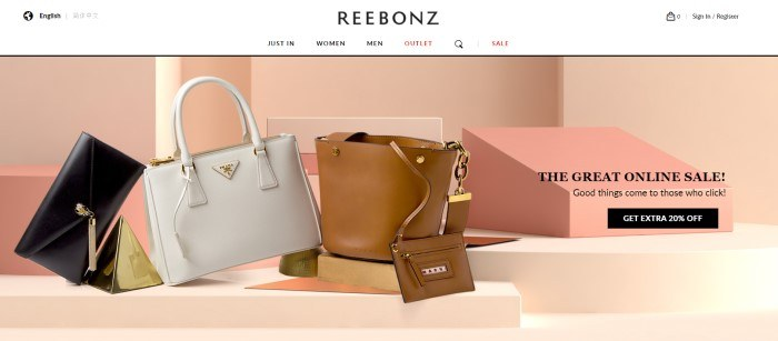 This screenshot of the home page for Reebonz has a white navigation bar with black and pink text above a photo section with a pink background and several designer handbags in black, white, and brown, along with black text and a black call to action button.
