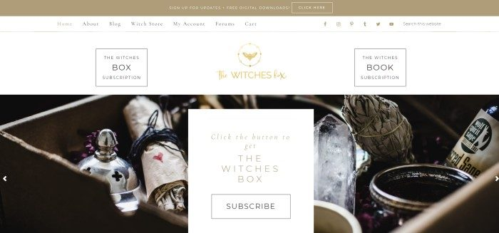 This screenshot of the home page for The Witches Box has a tan header, a white navigation bar, a dark photo showing various witchcraft items in a box, and a white subscription invitation with black and gold text.