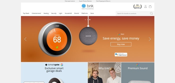 This screenshot of the home page for Tink has a gray background, a white navigation bar, and an orange main section with a photo of a Nest smart thermostat, along with white text and a white outlined call to action button, above a row of products including garage deals on a blue background, a 'why Tink' section with a photo of two smiling men standing in front of a brick wall, and a teal section with sound equipment.