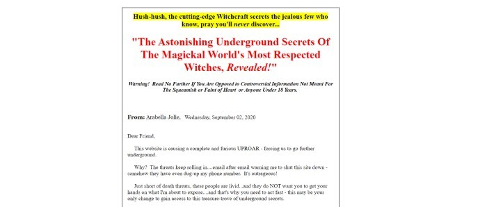 This screenshot of the home page for Uderground Witchcraft Secrets has a white background with a white text section containing black and red text, some of which is highlighted in yellow.