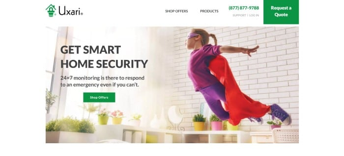 This screenshot of the home page for Uxari has a white header and navigation bar with a green logo and call to action button above a photo of a very young girl in purple clothing, a purple mask, and a red cape as she jumps from furniture in a bright living room with plants and white furniture, along with black text and a green call to action button.
