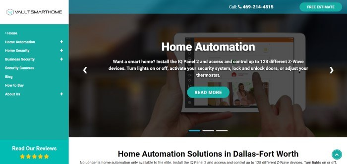 This screenshot of the home page for Vault Smart Home has a teal header, an aqua side column on the left side of the page with white text for navigation categories, and a dark filtered main section on the right side of the page with white text and an aqua call to action button.