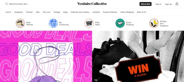 This screenshot of the home page for Vestiaire has a white header and navigation bar with colorful icons representing some categories, above split main section with pink, white, and purple graphics indicating good deals on the left side of the page and a black and white pixelated photo of a bag and clothing on the right side of the page behind a black ticket graphic with red lettering spelling out the word 'win.'