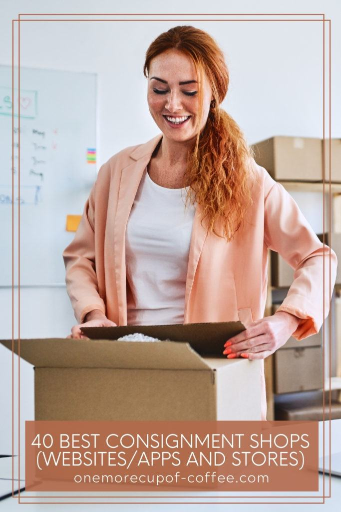 woman in white shirt with peach cardigan, packing items in a box; with text overlay