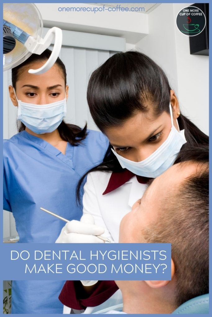 dental hygienists currently working on a patient, with text overlay in blue banner